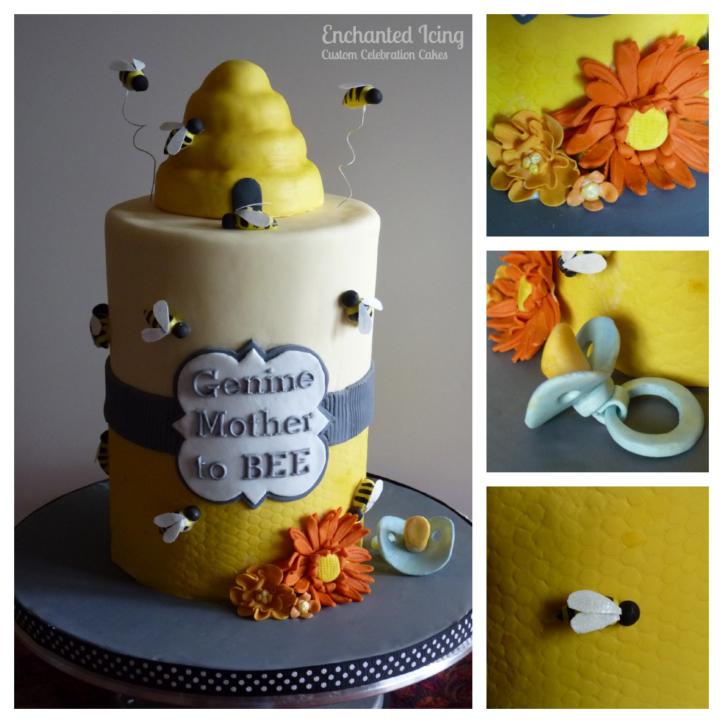 Genines Mother Debbie Contacted Me About Making A Bee Themed Baby Shower Cake For Her Daughter I Came Up With The Design Which She Loved